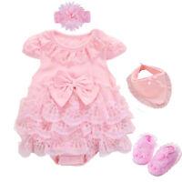 Newborn baby girls summer bodysuit+headband+shoes+ bib party dress baby gift
