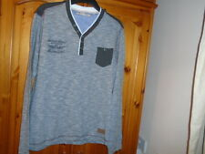 Slate blue grey and white weave long sleeve top, BRAVE SOUL size Large excellent