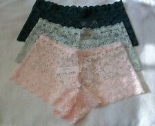 THREE (3) PAIRS OF LADIES / WOMANS / GIRLS LACE SHORTS KNICKERS SIZE 14-16 NEW