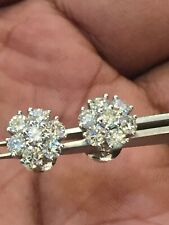2.38 Carats F/VS1 Round Brilliant Cut Diamonds Cluster Stud Earrings In 18K Gold