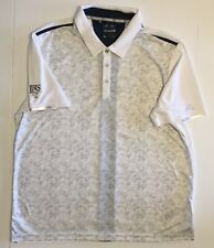 Mens Adidas Golf Polo Short Sleeve Climachill White Blue Xl Country Club Logo