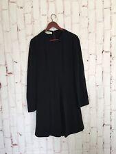 stella mccartney Womens Dress Size 44 Black Long Sleeve Pleat Front Rayon Shift