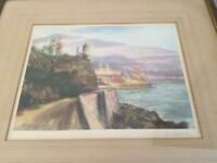 Emile Gallois Signed Etching AP Port of Monaco Colored Print Maritime Seascape