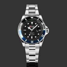 Military Mens Automatic Watch Mechanical Stainless Steel Strap Submariner Black