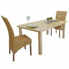 vidaXL 2x Dining Chairs Rattan Brown Handwoven Home Kitchen Furniture Seats
