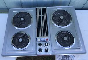 """Jenn Air 30"""" Cooktop Electric Coils Grill Downdraft Stainless Vintage"""