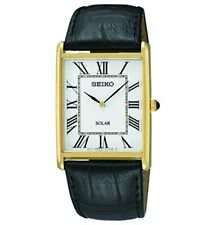Seiko Mens Stainless Solar-Powered Watch in Gold with Leather Straps - SUP880