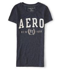Aeropostale Womens Navy Blue Slim Fit Applique Logo Graphic T-Shirt Top XL NEW