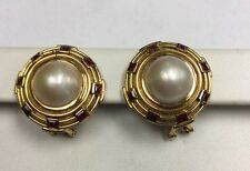beautiful large mabe mobe pearl ruby earrings 18kt Yellow Gold French clip back