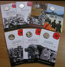 2009 - 2015 Complete Set of 'Australia Remembers'  20 Cent Coins & Cards
