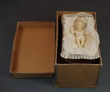 Antique German Baby Jesus Christ Wax Doll Manger Creche Nativity Figure 4'' Box