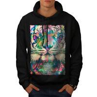 Wellcoda Psychedelic Tiger Mens Hoodie, Party Casual Hooded Sweatshirt
