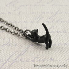 Black Cat Charm Necklace - 3D Cat Kitten Halloween Pendant Jewelry NEW