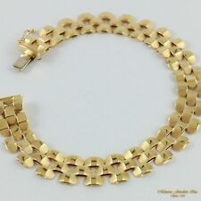 "7"" 14K Yellow Gold 3 ROW Panther Link 10MM Bracelet, Textured Chain (B24 38 139)"