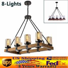 8-Lights Farmhouse Kitchen Island Light Pendant Chandelier Ceiling Fixture Wood