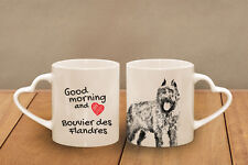 "Bouvier des Flandres - ceramic cup, mug ""Good morning and love, heart"", Usa"