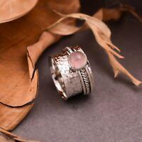 Rose Quartz Spinner Ring 925 Sterling Silver Statement Meditation Ring Jewelry