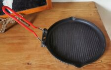 Small Cast Iron Skillet with Collapsible Metal Handle. Made In France 10 Inch