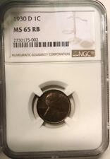 1930 D Lincoln Wheat Penny Cent 1C NGC 65 RB Mint State Graded Coin