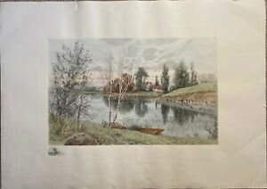 Birch Lake by Benjamin Lander -  Hand Colored Etching