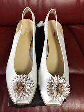 John Lewis Rose 2 Flower Wedge Heeled Sandals White Size 5