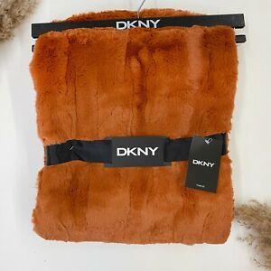 "NEW DKNY Burnt Orange Pumpkin Throw Blanket 50x60"" Everly Faux Fur SHIPS FREE"