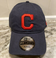 Cleveland Indians Tribe New Era 49FORTY MLB Fitted Hat Dad Cap Blue Size XL