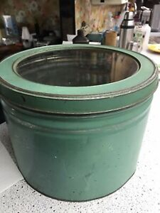 Antique Tin Vintage Biscuit Tin Country Store Large Green w/ Glass Metal Lid