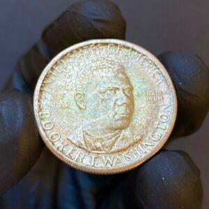 1946-D Booker T Washington Silver Commemorative Half Dollar- Rainbow Toned