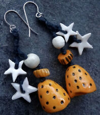 earrings OOAK 925 sterling silver artisan porcelain urban modernist star -W69