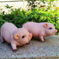 2pcs Garden Pig Statue Cute Resin Garden Yard Decor Sculpture for Outdoor