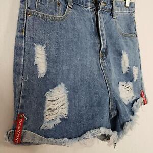 Denim Shorts High Rise Juniors Size XL Destroyed Medium Wash Fringe Hem Festival