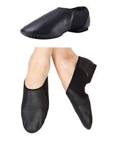 Jazz Modern Dance Black  Shoes Slip on Split Sole