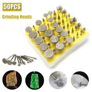 50pc Diamond Grinding Head Burr Drill Bit Set Carving Dremel Rotary Tool 40 Grit