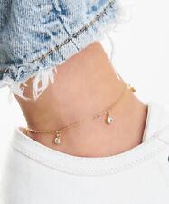 Anklet Layered In 18K Gold Sevil Chain Link Swarovski Elements