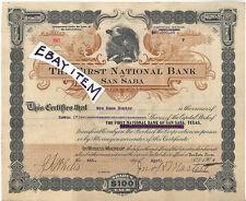 1907 JOHN H MARTIN San Saba Texas FIRST NATIONAL BANK Stock Certificate WILDBAHN