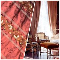 SALE! Designer 100% Silk Taffeta Embroidered Drapery Fabric - Rust Red Floral