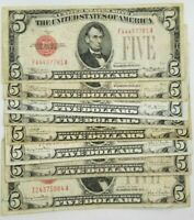 1928 Five Dollar $5 Red Seal Note Old US Currency Bill Average Circulated