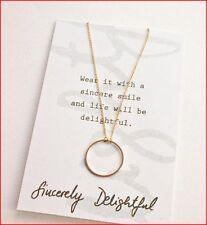 new gold exquisite gilt metal short love chain necklace circle pendant UK karma