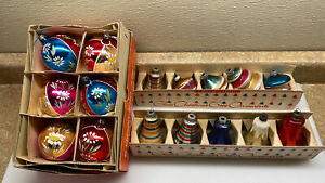 16 Vintage ~ Old Christmas Tree ~ Bell & Ball Ornaments Shiny Brite w Boxes VGC