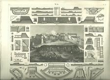Original Steel Engraving From 1850s Castle Seige Scene with Architectural Pics
