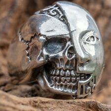 Android Robot Skull Ring .925 solid sterling silver Metal Biker Humanoid