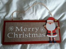 Father Christmas and merry Christmas fun wooden hanging sign