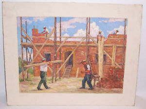"""Paul Bad Dresden Painter """" Construction """" Construction Site Workers 50er Years"""