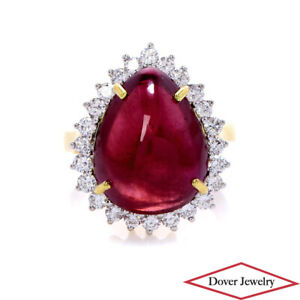 Diamond 14.31ct Ruby 19K Gold Halo Cocktail Ring 8.4 Grams NR