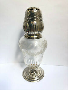 Antique French Secession Sterling Silver Cut Crystal Sugar Shaker 19c artnouveau