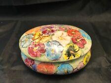 New ListingCheerful Lidded Trinket Box Hand Painted Flowers Pansies - Multicolored