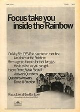 FOCUS Live @ Rainbow 1973 UK Poster size Press ADVERT 16x12 inches