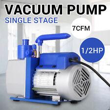 Single Stage 7 CFM 1/2 HP Rotary Vane Deep Vacuum Pump HVAC AC Air Freon Tool