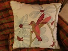 18X18 embroidered bird throw pillow coral Pre-Owned